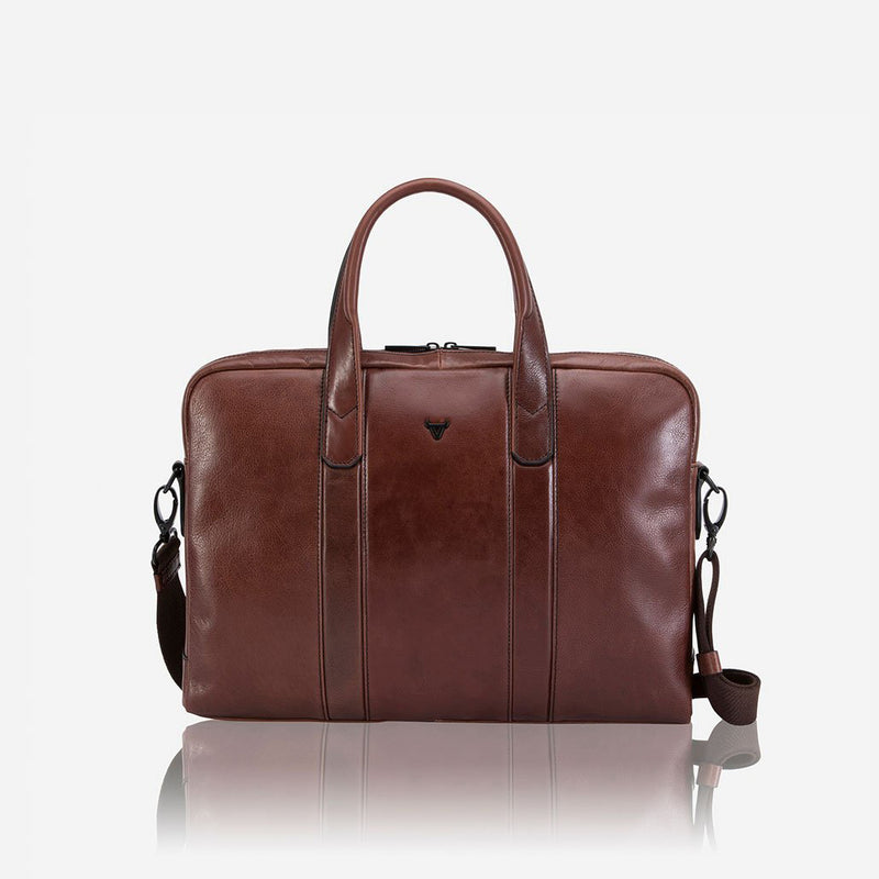 "15"" Slim Briefcase, Brown - Leather Laptop Bag 
