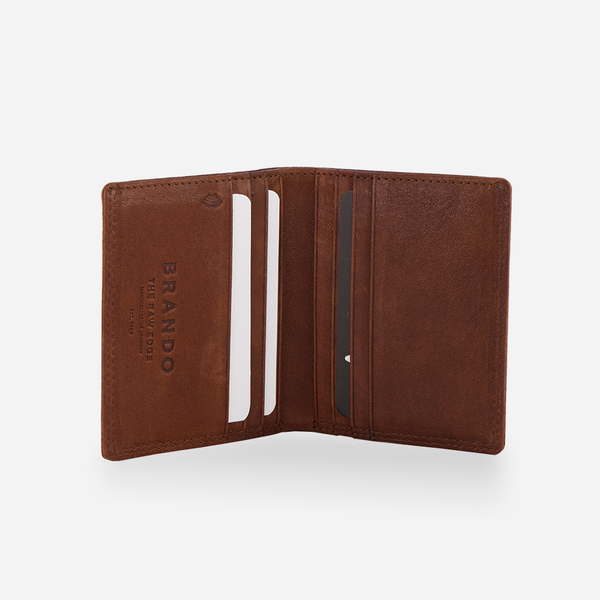 Slim RFID Leather Billfold, Tan - Leather Wallet | Brando Leather South Africa