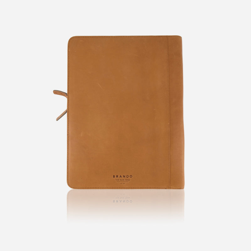 A4 Leather Zip Folder, Tan - Leather Business Bag | Brando Leather South Africa