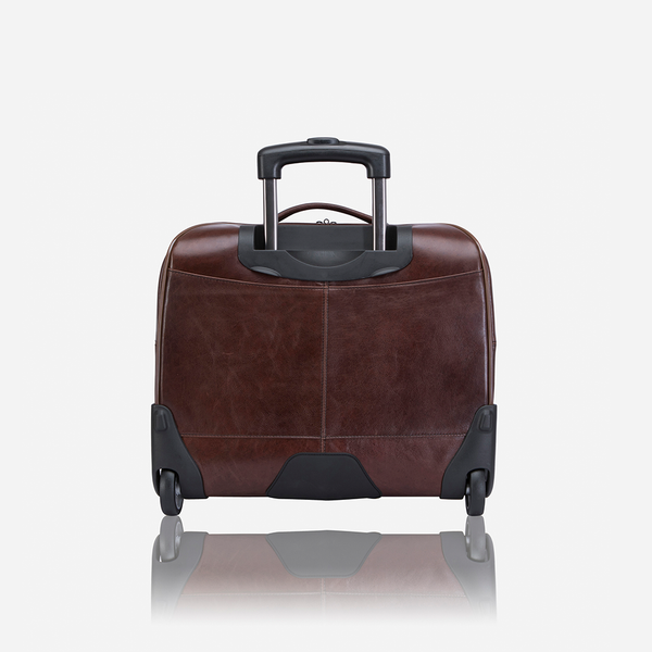 "17"" Leather Laptop Trolley Bag, Brown - Leather Business Bag 