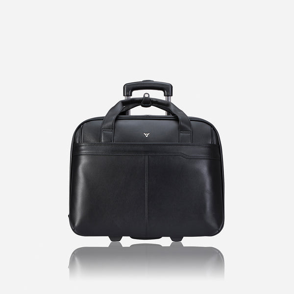 "17"" Laptop/Overnight Bag, Black - Leather Business Bag 