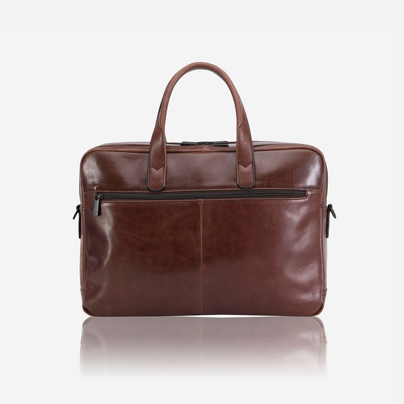 "15"" Double Laptop Bag, Brown - Leather Business Bag 