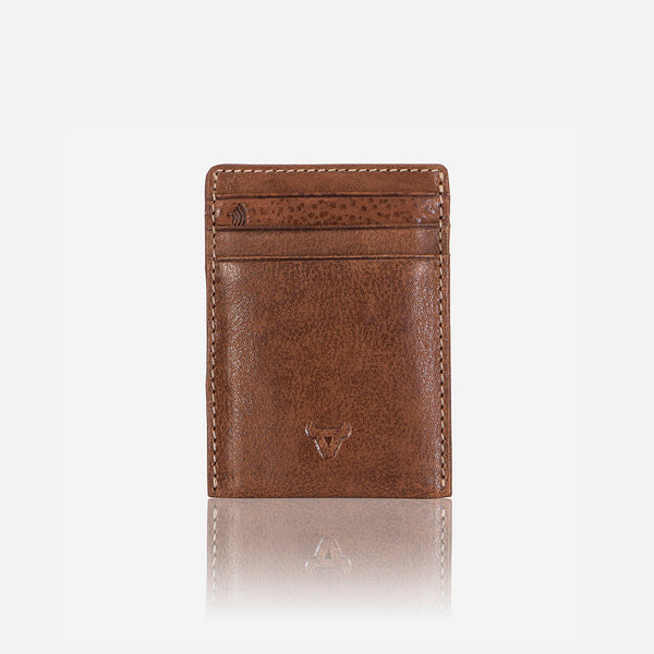 RFID Money Clip Leather Cardholder, Brown