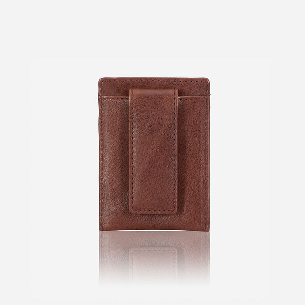 RFID Money Clip Leather Cardholder, Vintage Brown