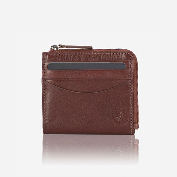 Slimline Zip Card Leather Wallet, Brown
