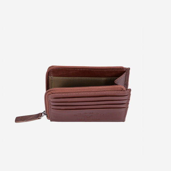 Slimline Zip Card Leather Wallet, Brown - Leather Wallet | Brando Leather South Africa
