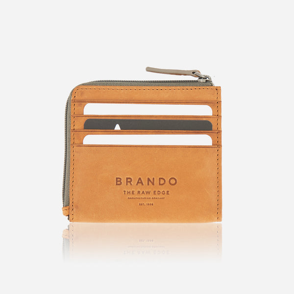 Slimline Zip Leather Wallet, Tan - Leather Wallet | Brando Leather South Africa