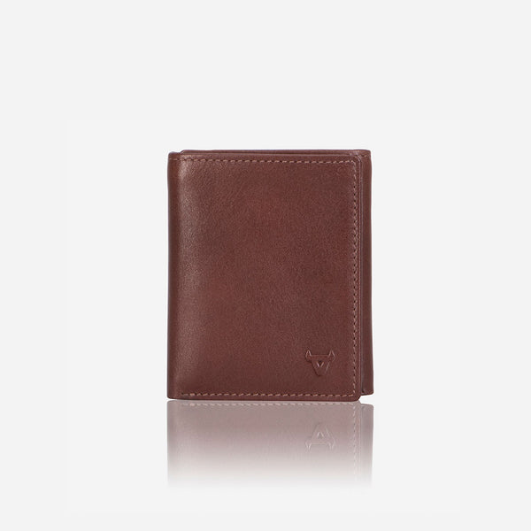 Compact Upright Trifold Leather Wallet, Brown - Leather Wallet | Brando Leather South Africa