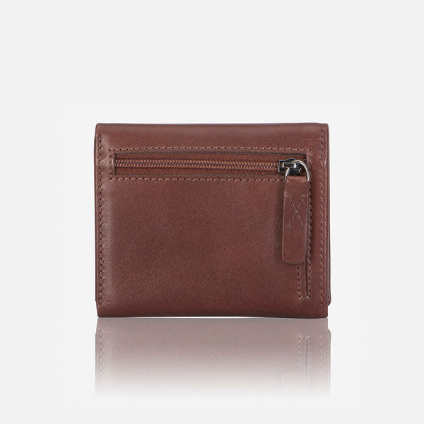 Compact Upright Trifold Leather Wallet, Brown