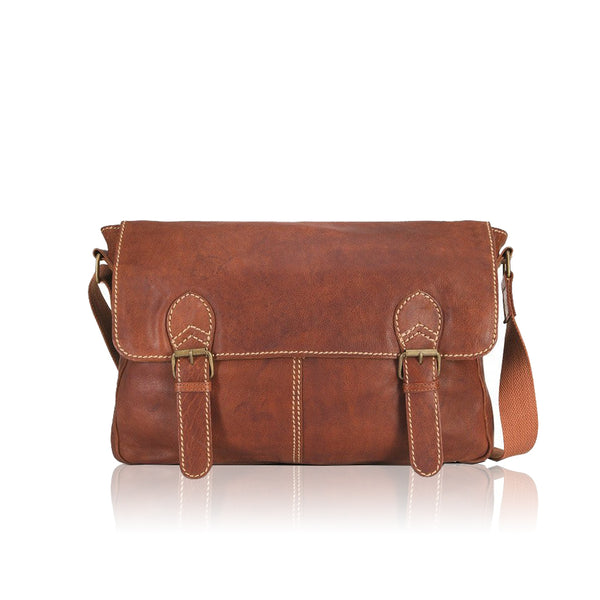 5401  Aqua 2 buckle messenger shoulder bag in a soft, heavy stitched, raw edge leather