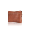 5604  Aqua padded laptop / document zip around sleeve in a soft heavy stitched, raw edge leather