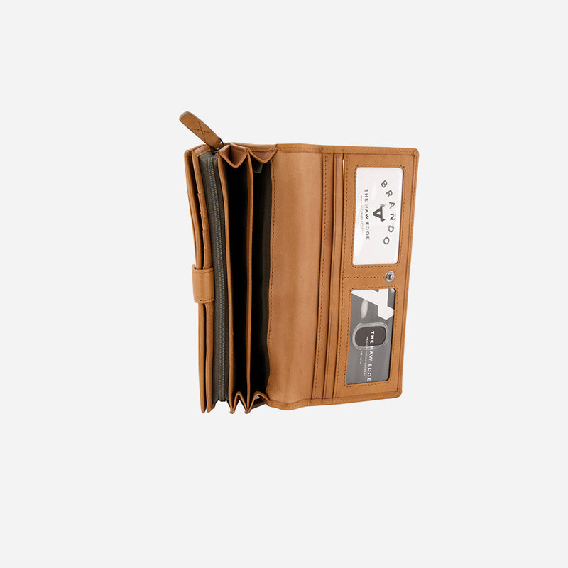 Cooper Purse Flap Over, Tan - Leather Purse | Brando Leather South Africa