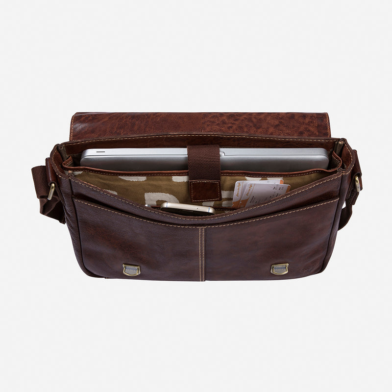 Asher Leather Laptop Crossbody Bag - Leather Crossbody Bag | Brando Leather South Africa