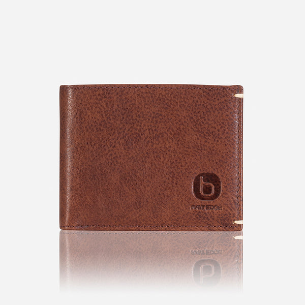 Sleek Slim Leather Card+Note Wallet, Brown/Black
