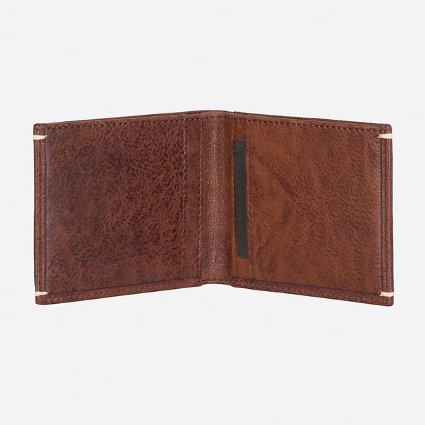 Sleek Slim Leather Card+Note Wallet, Brown/Black - Leather Wallet | Brando Leather South Africa
