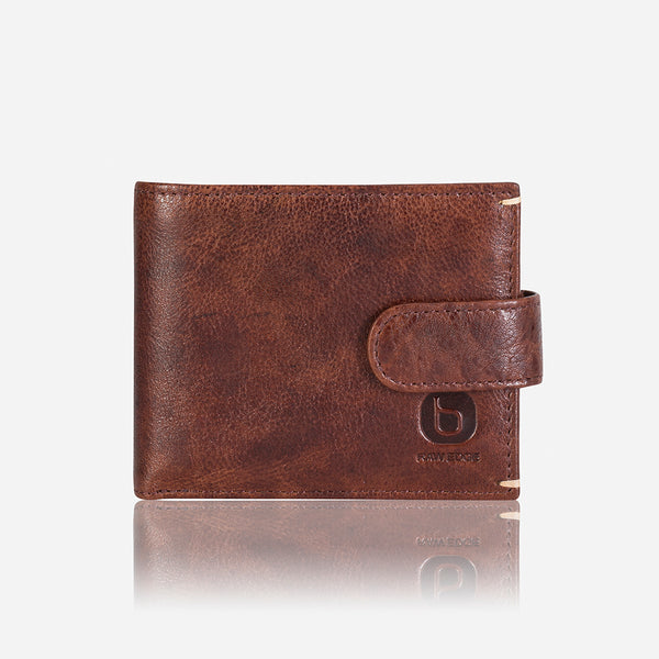 Multi Card Press Stud Leather Wallet, Brown/Black - Leather Wallet | Brando Leather South Africa