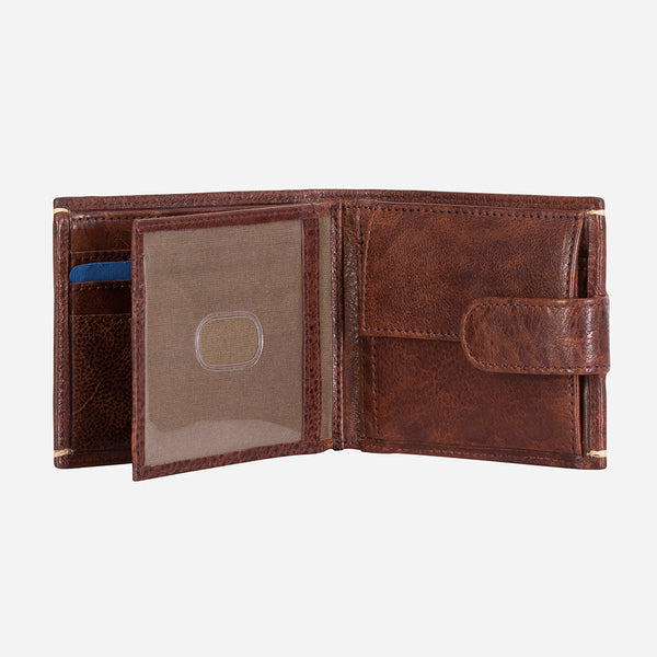 Multi Card Press Stud Leather Wallet, Brown/Black