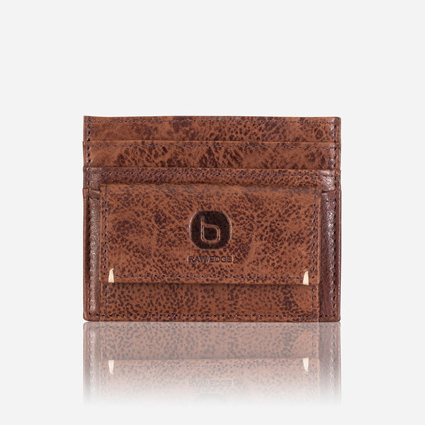 Minimalist Leather Card + Coin Wallet, Brown/Black - Wallet | Brando Leather South Africa