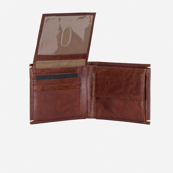 Flip Over Leather Wallet, Brown/Black