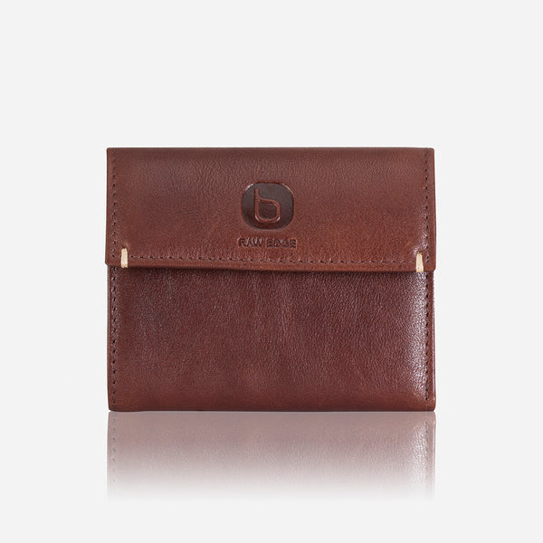Small Leather Clip Over Wallet, Brown