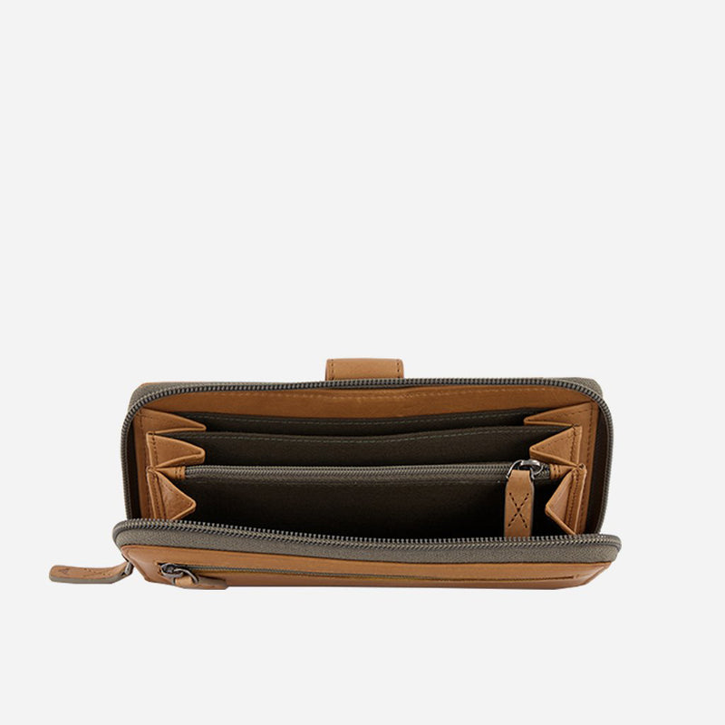 Multicard Cooper Purse with Zip, Tan - Leather Purse | Brando Leather South Africa
