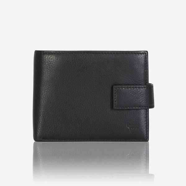 Multi Card Leather Wallet With Inner Zip, Black