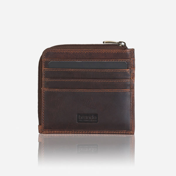 Slim Zip Around Men's Leather Wallet, Brown