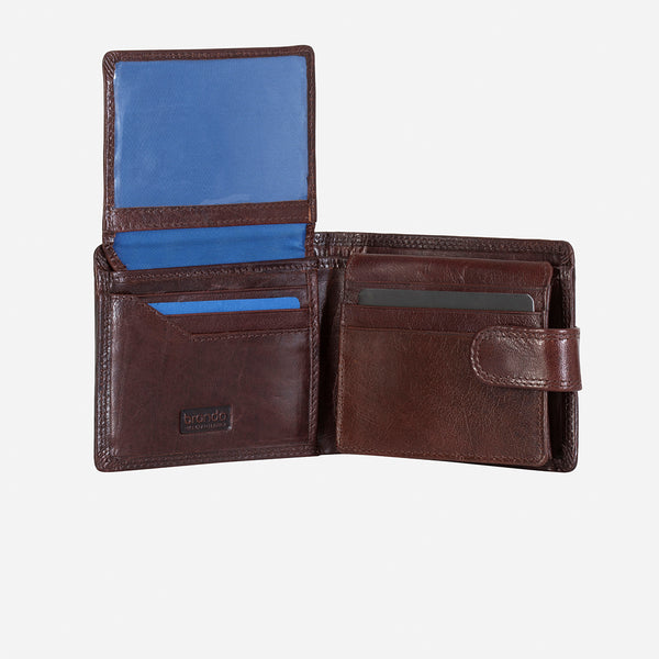 Executive Leather Press Stud Wallet, Brown - Leather Wallet | Brando Leather South Africa