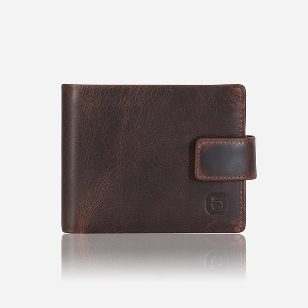 Executive Leather Press Stud Wallet, Brown - Wallet | Brando Leather South Africa