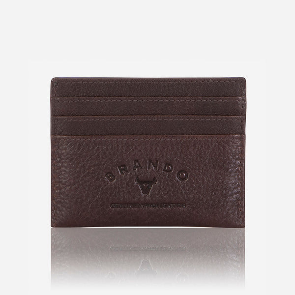 Slim Oryx Leather Card Wallet, Dark Brown