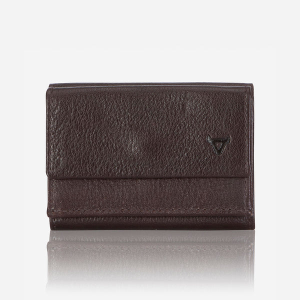 Compact Mini Trifold Wallet, Dark Brown