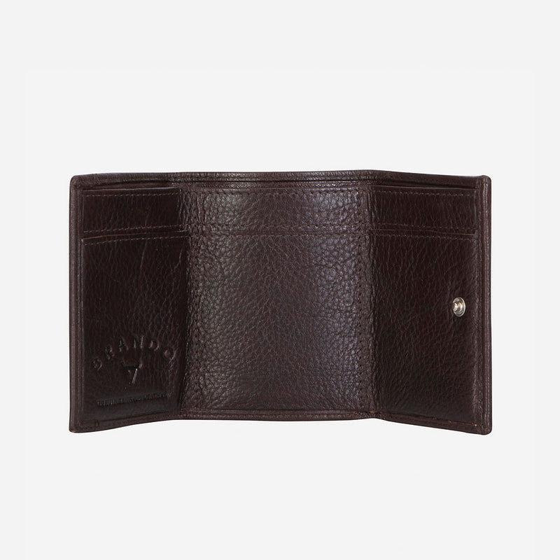Compact Mini Trifold Wallet, Dark Brown - Leather Wallet | Brando Leather South Africa