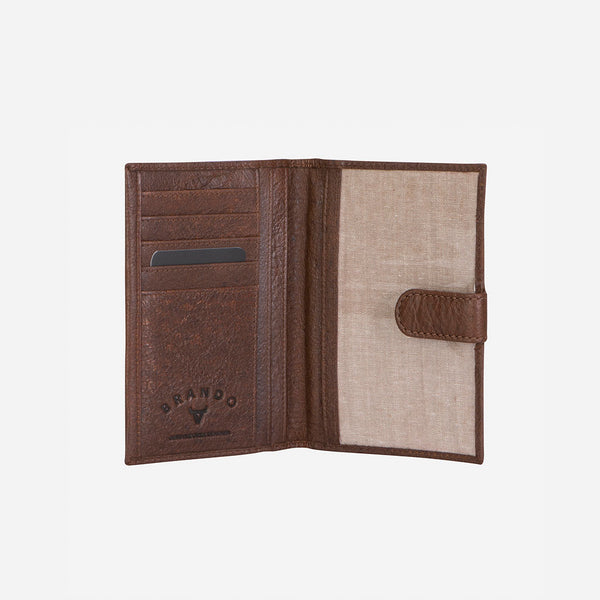 Leather Passport Holder & Wallet, Dark Brown