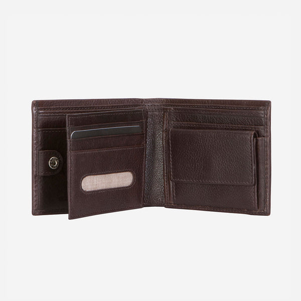 Multi Card, Coin + Note Leather Wallet, Dark Brown