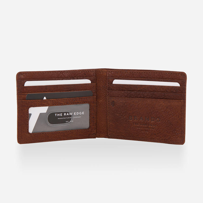 Slim Traditional RFID Leather Billfold, Tan - Leather Wallet | Brando Leather South Africa