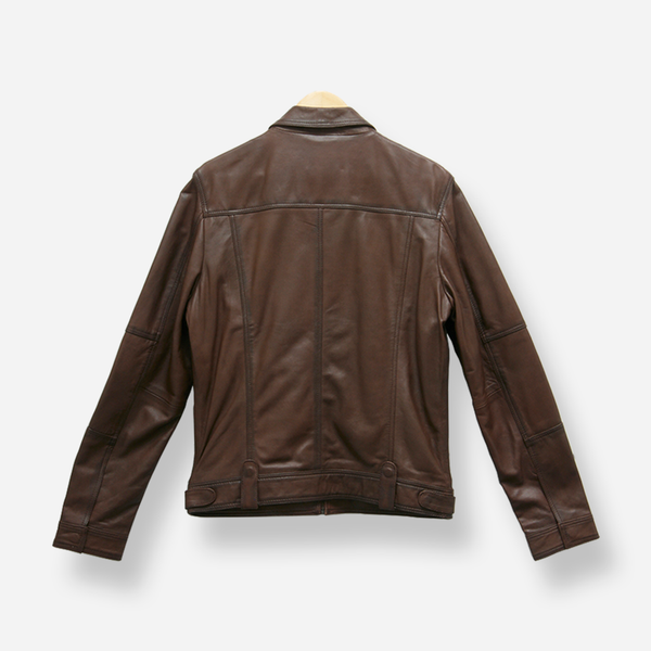 Lamb Brown Mandarin Costner Leather Jacket - Leather Jacket | Brando Leather South Africa