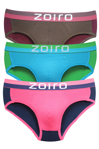 Zoiro Trendo 0311 Men's Cotton Mid Rise Brief-Rose-Turquoise-Brown [Pack Of 3]