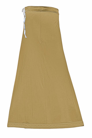 Googlias Women's Lace Bottom Satin Saree Slips Length 40-Lt.Wheat