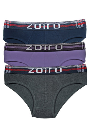 Zoiro Lorenzo 1101 Men's Cotton Midrise Brief-Lilac-Charcoal-Navy [Pack Of 3]