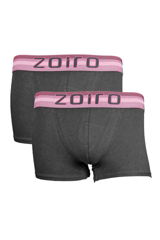 Zoiro Lorenzo 1102 Men's Premium Cotton Mid Rise Trunk-Black [Pack Of 2]