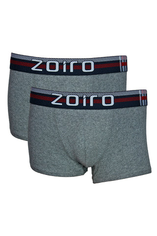 Zoiro Lorenzo 1102 Men's Premium Cotton Mid Rise Trunk-Charcoal [Pack Of 2]