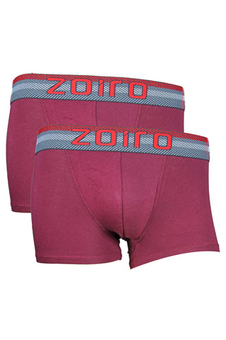 Zoiro Lorenzo 1102 Men's Premium Cotton Mid Rise Trunk-Maroon [Pack Of 2]