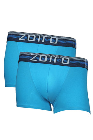 Zoiro Lorenzo 1102 Men's Premium Cotton Mid Rise Trunk-Turquoise [Pack Of 2]