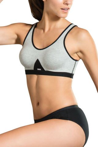 Jockey 1376 Women's Seamless Cotton Non Padded Sports And T-Shirt Bra-Black-Grey