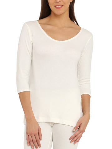 Jockey Women's Off White Quarter Sleeve Thermal Top-2503