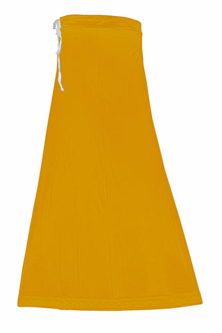 Googlias Women's Lace Bottom Satin Saree Slips Length 40-Mustard