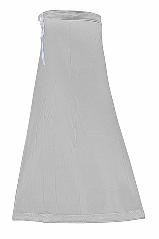 Googlias Women's Lace Bottom Satin Saree Slips Length 40-Light Grey