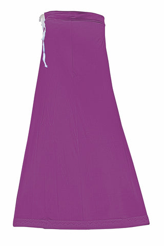 Googlias Women's Lace Bottom Satin Saree Slips Length 40-Light Wine