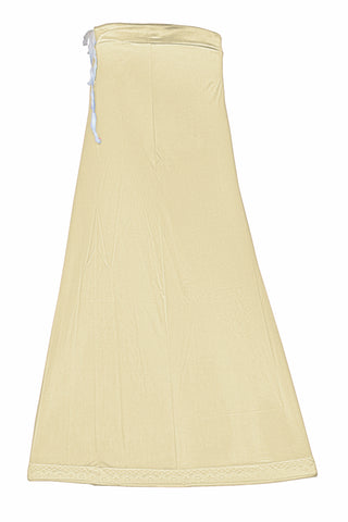 Googlias Women's Lace Bottom Satin Saree Slips Length 40-Cream