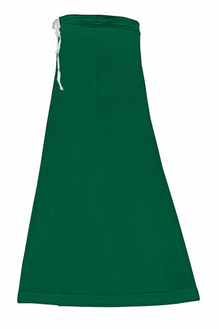Googlias Women's Lace Bottom Satin Saree Slips Length 40-Emerald Green